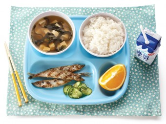 Typical school lunch in Japan. <em>What's for Lunch?</em> Photo by Yvonne Duivenvoorden.